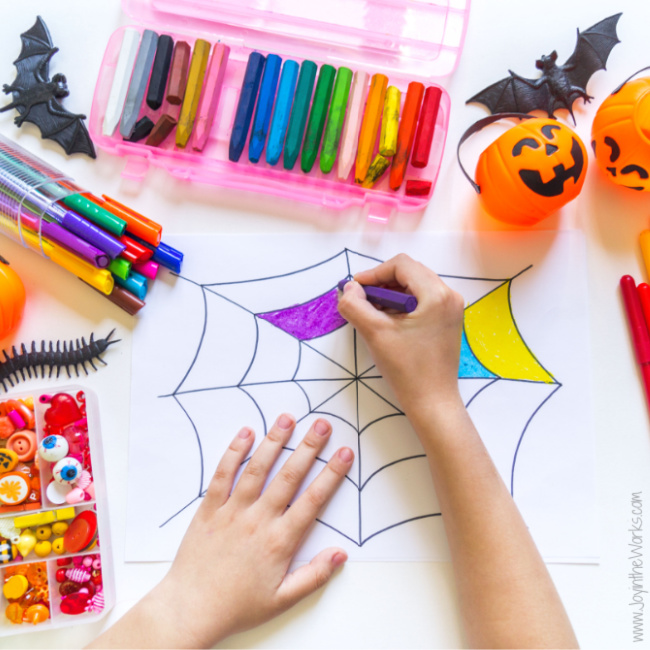 You can easily incorporate Halloween Art Projects into your Virtual  Class Halloween Party!