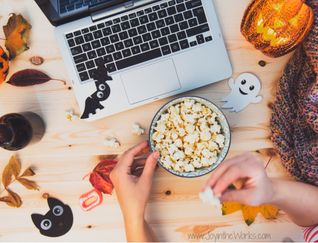 Pop some popcorn and watch a Halloween movie during a Virtual Halloween Party!