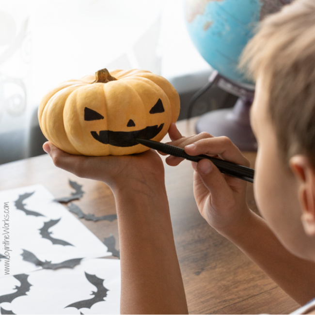 Decorate or paint a pumpkin during a kid's Virtual Halloween Party!