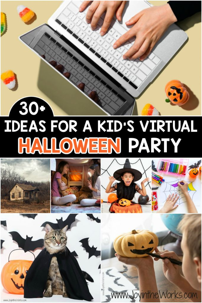 Planning a Class Halloween Party during Remote Learning? These 30+ ideas for a kid's Virtual Halloween Party have got you covered!