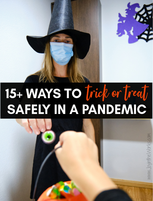 You can trick or treat safely during Covid-19 if you practice social distancing and wear a mask. Combined with these no contact candy delivery ideas, Halloween can still be fun this year!